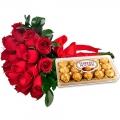 Buque com Rosas e Chocolate