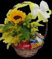 Cesta com chocolates e flores